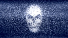 Hacking screen skull dark blue Stock Footage