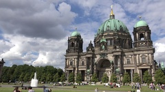 4K Tourist people enjoy and relax Berlin Cathedral popular sightseeing landmark Stock Footage