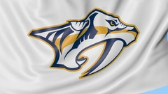 Close-up of waving flag with Nashville Predators NHL hockey team logo, seamless Stock Footage