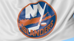 Close-up of waving flag with New York Islanders NHL hockey team logo, seamless Stock Footage