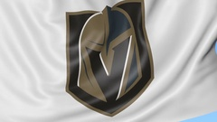 Close-up of waving flag with Vegas Golden Knights NHL hockey team logo, seamless Stock Footage