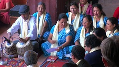 Singing prayers in the temple of Nepal. Stock Footage