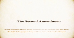 Camera pans over old Second Amendment paper Stock Footage