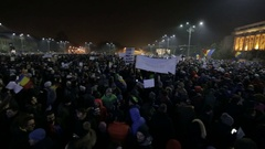 Romanians protest in front of Government building against Amnesty Stock Footage