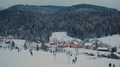 Panorama Ski Resort. village people Stock Footage