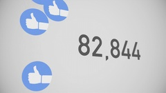 Closeup Counter of Likes Being Accumulated with Thumbs-Up Stock Footage