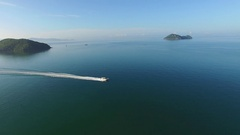Aerial View of Sailing Boat in Sea Stock Footage