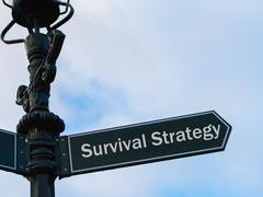Survival Strategy directional sign on guidepost Stock Photos