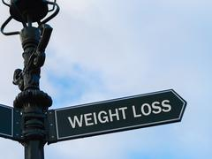 WEIGHT LOSS directional sign on guidepost Stock Photos