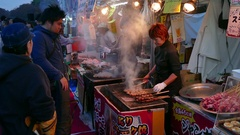 Market Selling Street Food At Ueno Park Tokyo Japan Asia Stock Footage