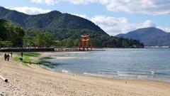 Monument Miyajima Itsukushima Shrine In The Sea Japan Asia Stock Footage