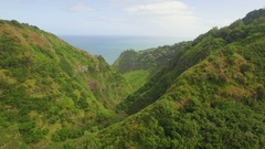 Tropical Valley (Jurassic Park Valley) Pull Back Aerial View Stock Footage