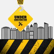 Building process hang crane sign under construction Stock Illustration