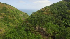 Tropical Jungle Valley (Jurassic Park) Fly Through Aerial View Stock Footage