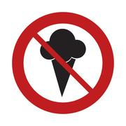 Prohibited sign road ice cream sweet frozen Stock Illustration