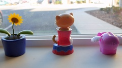 A dolly shot of bobble head figurines in a window sill Stock Footage