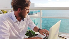 Young And Successful Man Working And Appreciating A Beautiful View Stock Footage