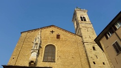 Bergamo - Old city. The bell tower of the Cathedral called Santa Maria Maggiore Stock Footage