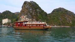 Pleasure boat sails on a tour of Ha Long Bay. Cat Ba Island, Vietnam Stock Footage