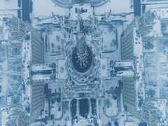 Moscow state university in snowy winter. Aerial view. Flying backward. Stock Footage