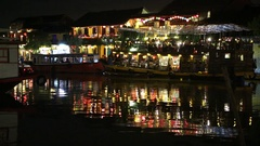 Floating restaurant on the river in the Hoi An  city, Vietnam Stock Footage