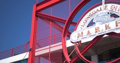 Lonsdale Quay Market Sign, Vancouver Canada - Panning Shot Stock Footage