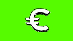 Euro   outline   hand drawn   green screen   white Stock Footage