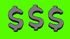Dollars   hand drawn   green screen   black Stock Footage