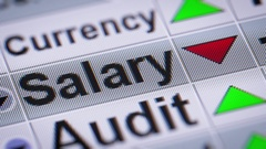 """Salary"" on the screen. Down. Looping. Stock Footage"