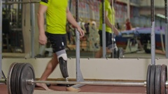 Inspiring Amputee Weightlifter Stock Footage