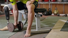 Paralympic Sportsman Doing Dumbbell Curls Stock Footage