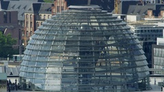 Glass dome of the Reichstag building in Berlin, Germany - time lapse Stock Footage