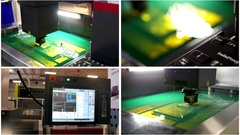 Four in one - automatic industrial robotic cutting of sheet metal Stock Footage