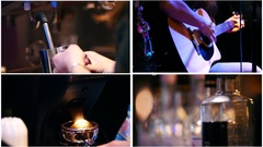 Four in one: coffee machine, guitar, beverages - cafe Stock Footage