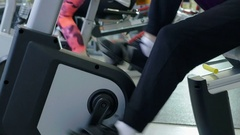 Group of women legs twist tadalafilorder in the hall of the fitness center Stock Footage