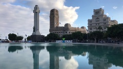 Plaza de Espana with the Castillo de San Cristobal Stock Footage