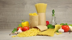 Ingredients for Bolognese or Carbonara Stock Footage