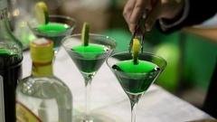 Bartender making cocktails in pub Stock Footage