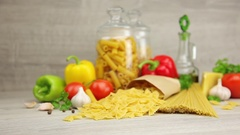 Ingredients to prepare Italian dishes Stock Footage