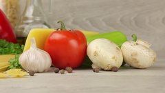 Mushrooms, cheese, fresh vegetables and pasta Stock Footage