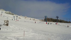 Ski resort. Fans and professionals of skiing have gathered for . Athletes in Stock Footage