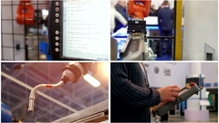 Four in one: robotic industrial automated machine for welding Stock Footage