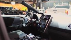 Nissan Leaf full electric zero emission car interior Stock Footage