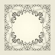 Art nouveau ornamental square frame with curly pattern Stock Illustration