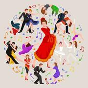 Spanish girl flamenco dancer in red dress,  beautiful dance, happy sexy woma Piirros