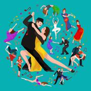 Yong couple man and woman dancing tango with passion,  dancers vecto Stock Illustration