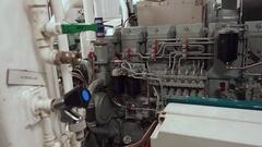 Diesel generator tug AHTS in the hold below waterline Stock Footage