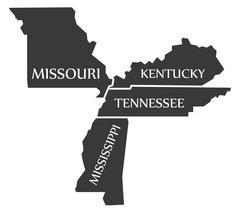 Missouri - Kentucky - Tennessee - Mississippi Map labelled black Stock Illustration