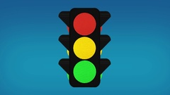 Broken Traffic Lights Pole Changing Colors /alpha Channel is Included Stock Footage