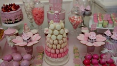 Delicious sweet buffet with cupcakes, Sweet holiday buffet with cupcakes and Stock Footage